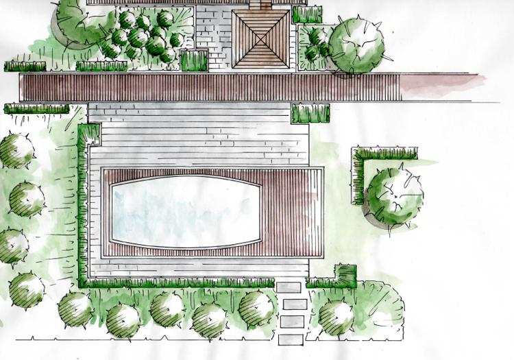 Pin plan de jardin contemporain en 3d on pinterest for Plan 3d jardin